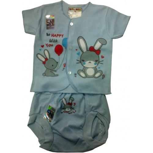 Baju Bayi Baru Lahir Lengan Pendek + Celana Pop Hello Baby