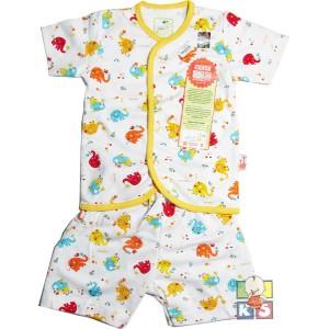 Baju Bayi Baru Lahir Motif Set Velvet Junior Lengan & Celana Pendek